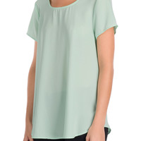 Mint Crisscross Chiffon Blouse