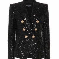Sequined double-breasted blazer