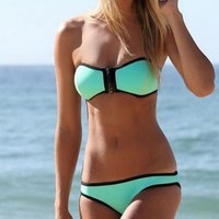GoLoveY Sexy Splice Women Swimwear Suit Lovely Bikini Beachwear
