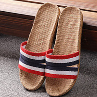 Mens Summer Linen Slipper Beach Shoes Sandals