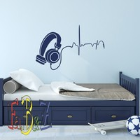 Music Wall Decal DJ Headphone Audio Music Pulse Removable Vinyl Wall Decals Nursery Kids Boys Teens Room Playroom Music Wall Art Decor Q293
