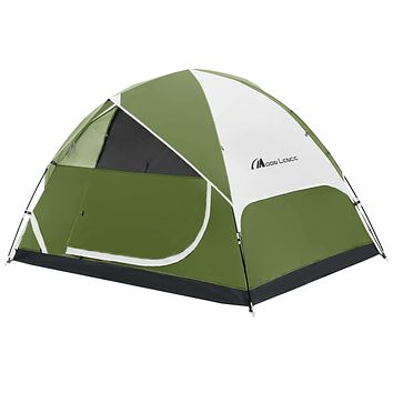 MOON LENCE Camping Tent 2/4/6 Person Family Tent Double Layer Outdoor Tent Waterproof Windproof Anti-UV … Green 6-Person