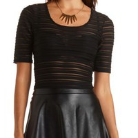 Sheer-Striped Ribbed Crop Top by Charlotte Russe
