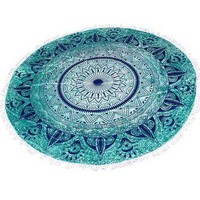 Round Beach Throw Tapestry Hippy Boho Gypsy Cotton Table Cover Round Tapestry wall hanging 70 Gift