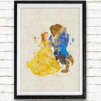 Beauty and the Beast Watercolor Print, Belle Disney Princess Baby Nursery Room Art, Minimalist Home Decor Not Framed, Buy 2 Get 1 Free!