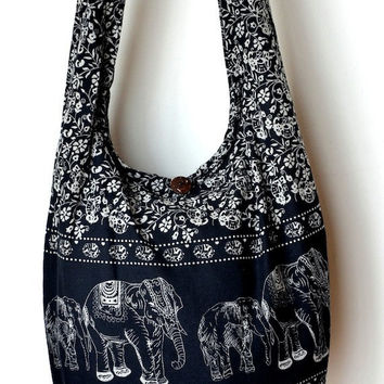 Black Cotton Bag Handbags Elephant Bag Hippie Hobo Bag Boho Bag Shoulder Bag Sling Bag Messenger Bag Crossbody Purse
