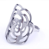 New Fashion Women Rose Flower Stainless Steel Ring Sliver Color Hollow Wedding Rings Lady Stainless Steel Rings US 6 10-in Rings from Jewelry & Accessories on Aliexpress.com | Alibaba Group