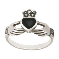 Sterling Silver Marcasite Onyx Claddagh Ring