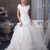 Short Sleeved Satin and Organza Wedding Gown with Ruffle Skirt