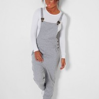 In The Mix Grey Jersey Dungarees | Pink Boutique