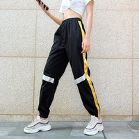 Women Personality Multicolor Webbing High Waist Leisure Pants Trousers Loose Sweatpants
