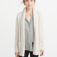 Womens Airspun Cable Shawl-Collar Cardigan | Womens Tops | Abercrombie.com