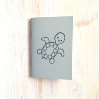 Small Notebook: Turtle, For Him, For Her, Grey, Animal, Baby, Under the Sea, Kids, Mini Journal, Small Notebook, Stamped, Unique, O220