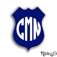 Thin Blue Line Police Wife Badge Monogram Car Decal/ Sticker/ YETI Decal/ Tumbler Decal