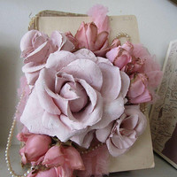Embellished book stack shabby cottage chic soft pink hand dipped roses w/ tea stained millinery rose buds tattered lace anita spero design