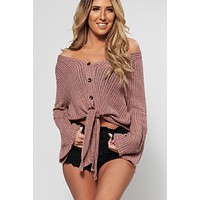 Nothing Like It Tie Front Top (Mauve)