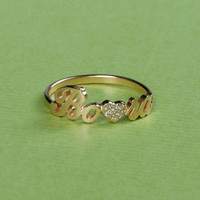 Personalized Name Ring With Heart - Heart Jeweled Diamond - Lover Gift - 18K Gold Plated