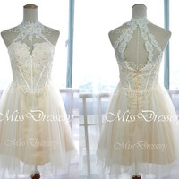 High Neck Mini Short Lace and Tulle Cocktail Dresses, Wedding Party Dress, Prom Dresses, Formal Gown, Bridesmaid Dresses