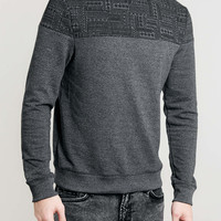Charcoal Patterned Yoke Sweatshirt - TOPMAN USA