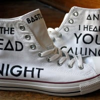 Music Lyric Shoes, Custom Converse Hi Tops, Handmade Sneakers, Song Tennis Shoes