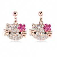 Lovely Cat Flower Stud Earring For Girls 18K Rose Gold Plate Austrian Crystals Kitten Earings With SWA Elements ITL-ES0098