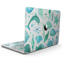 Vivid Blue Watercolor Sea Creatures V2 - MacBook Pro with Touch Bar Skin Kit
