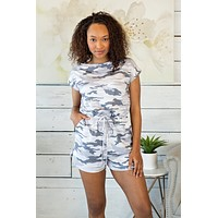Escape With Me Camo Romper : Grey