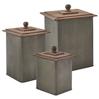 Galvanized Norwood Canisters with Wood Lids - Set of 3