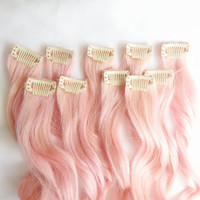 PEARL PINK 100% Human Hair Extensions : Clip In Hair Extensions, Remy Hair Extensions, Ombre Hair, Pink Hair Extensions