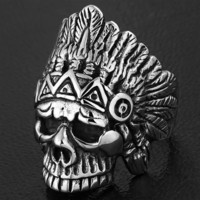 'The Chief' Big, Bold and Heavy Indian Skull Ring (609)