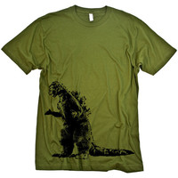 Godzilla on army MENS Tshirt by spacemonstertees on Etsy
