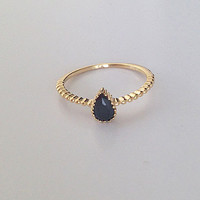 20% off- SALE!! Simple Teadrop Ring - Gold onyx ring - Tiny Ring - Gemstone Ring - Stacking Ring - Bezel Ring - Stackable Ring