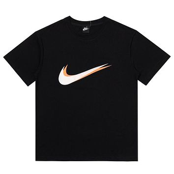 NIKE New fashion hook print couple top shirt Black