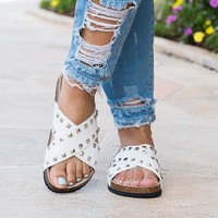 Studded Criss Cross Sandals - White