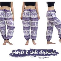 Purple Mandala Elephant Yoga Pants