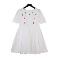 Cherry Embroidery Pintuck Dress