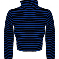 Sugarlips Seamless Striped Long Sleeve Turtleneck Crop Top