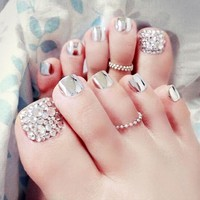 Free shipping New 24 pcs summer Beauty Chic Toe Nails Metallic silver For Foot Nail High Quality with rhinestone Foot False Nail