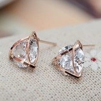 Diamond In Triangle Rhinestone Earrings