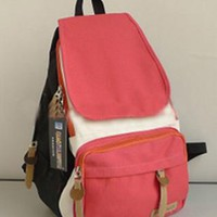 Fashion Simple Leisure Mixing Color Backpack
