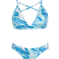 Blue Printed Strappy Cross Front Hipster Bikini