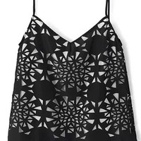 Black and White Geometric Cut-Out Cami Crop Top