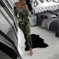 Popular velvet Bra Strapless conjoined trousers Green