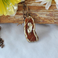 Brown agate slice necklace; wire wrapped agate; wire wrap stone; agate pendant; brown stone necklace; brown and white stone; stone necklace