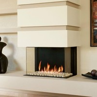 Gas fireplace with panoramic glass PANORAMA 75 by BRITISH FIRES