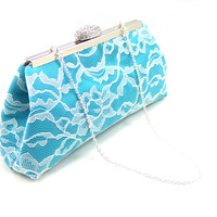 Teal, Ivory Lace and Platinum Grey Wedding Clutch