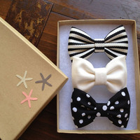 Polka dot striped and winter white bow lot by theSeasideSparrow