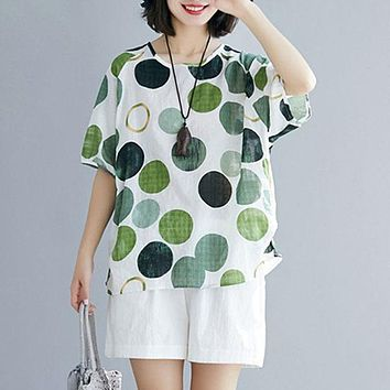 Women's Blouse Ladies Casual Tops Vintage Polka Dot Short Sleeve Shirts Plus Size Blusa Tunic Chemiser S-5XL