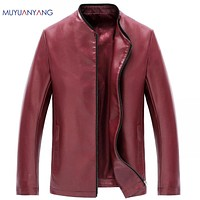 Jacket Men Leather Men Casual Leather Jackets Zipper Solid Quality PU Jackets and Coats