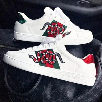 Gucci Shoes Flat Classic Breathable White Print Shoes Sneaker Snake